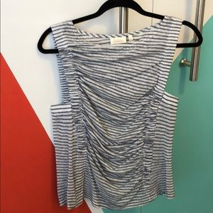 Anthropologie Rouched Striped Top